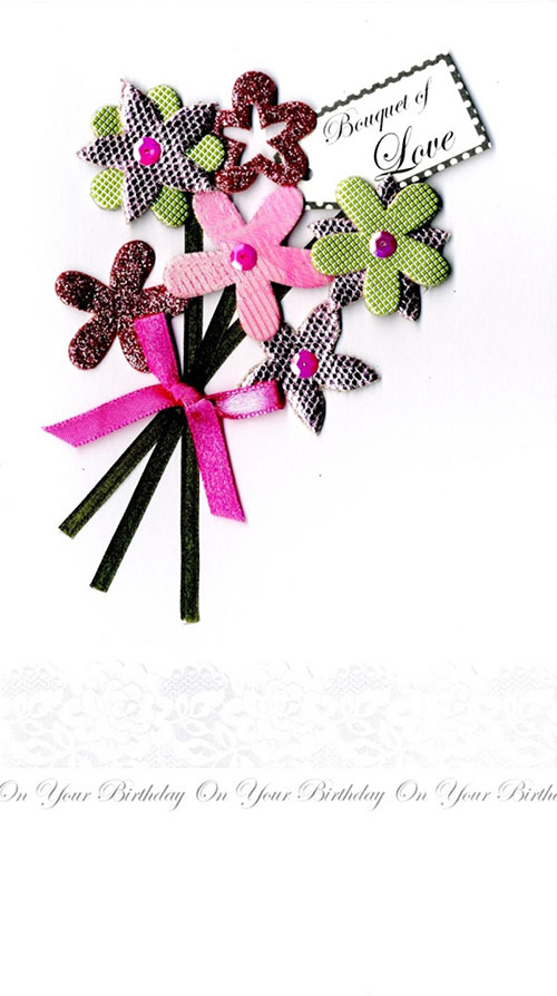 Champagne Birthday Card with pink and green flowers